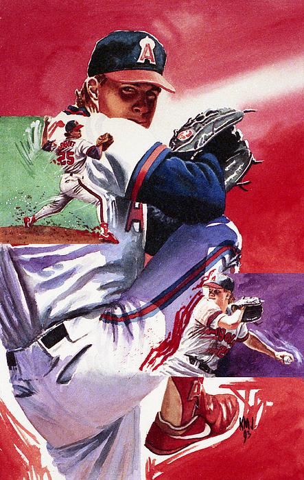 Baseball Painting - Jim Abbott by Ken Meyer