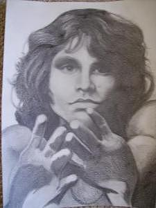 Jim Morrison Drawing - Jim Morrison by Janet Gioffre Harrington