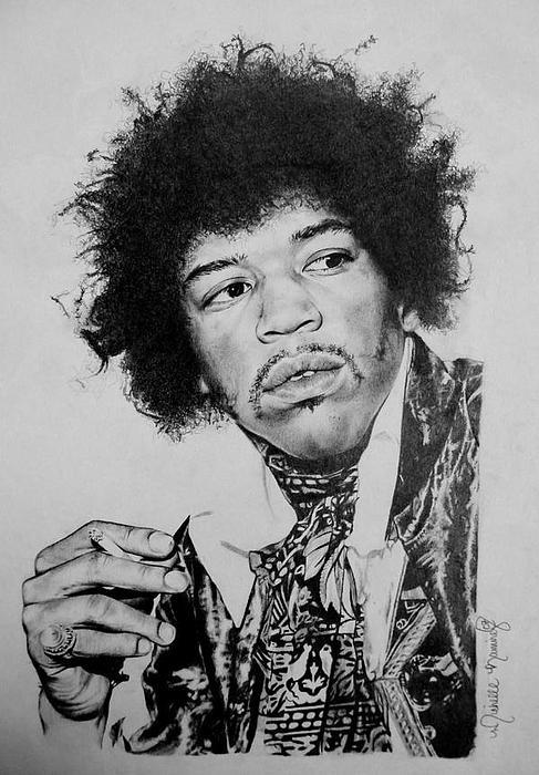 Jimi Hendrix Drawing Drawing by Michelle Ramirez