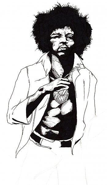 Jimi Hendrix Drawing - Jimi Hendrix by Elliott Danger James