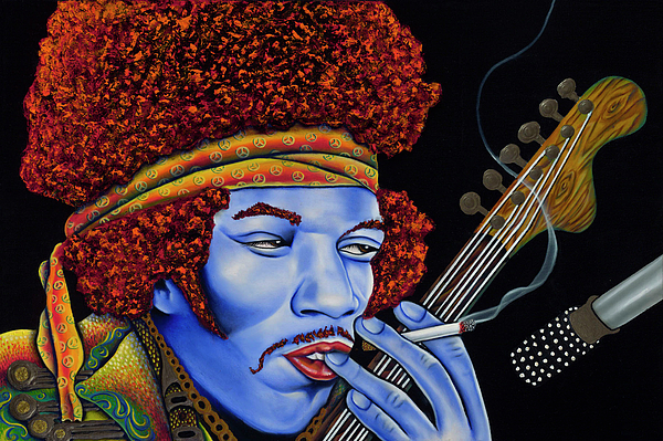 Portrait Painting - Jimi In Thought by Nannette Harris