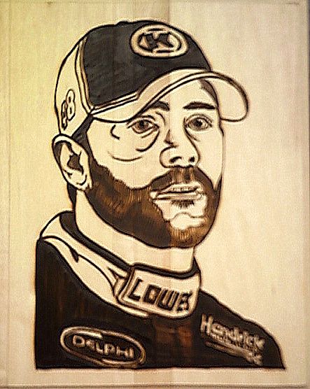 Jimmie Johnson No 48 Nascar Pyrography by Timothy Wilkerson