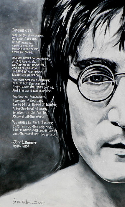 Figurative Painting - John Lennon - Imagine by Eddie Lim