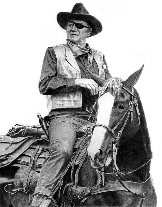 John Wayne Drawing - John Wayne As Rooster Cogburn by Ronny Hart