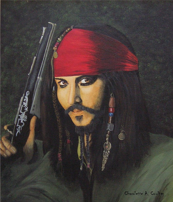Portrait Painting - Johnny Depp- Captain Jack by Charolette A Coulter