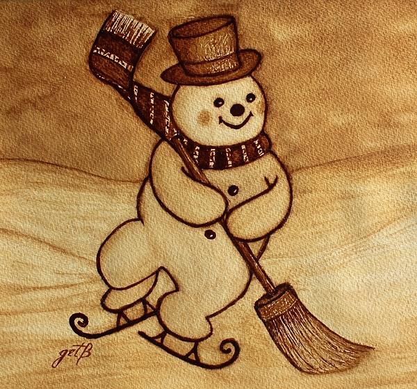 Joyful Snowman  Coffee Paintings Painting by Georgeta  Blanaru