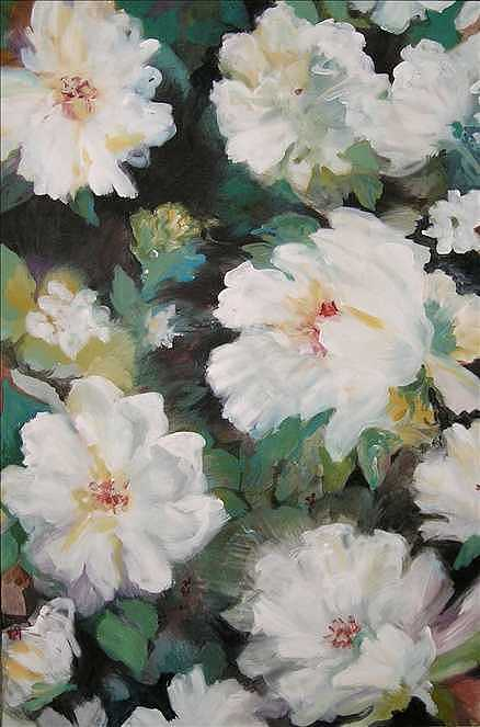 White Flowers Painting - Jts Flowers by Denise Ivey Telep