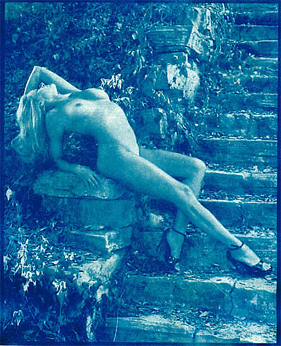 Nude Photograph - Jules On Steps Cyanotype by Gustavo Castilla