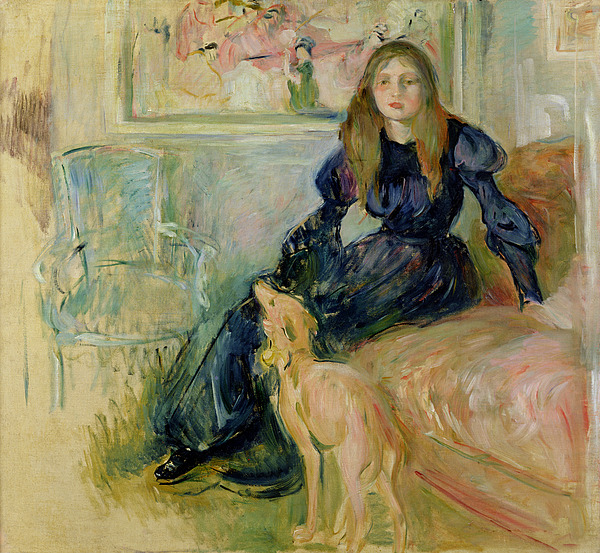 Julie Painting - Julie Manet And Her Greyhound Laerte by Berthe Morisot