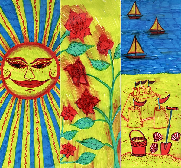 Summer Drawing - June July August by Sushila Burgess