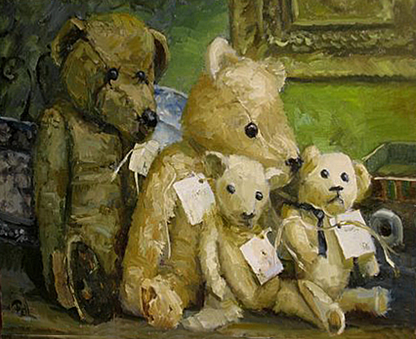 Antique Teddy Bears Painting - Just A Lookin For A Home by Lilli Pell