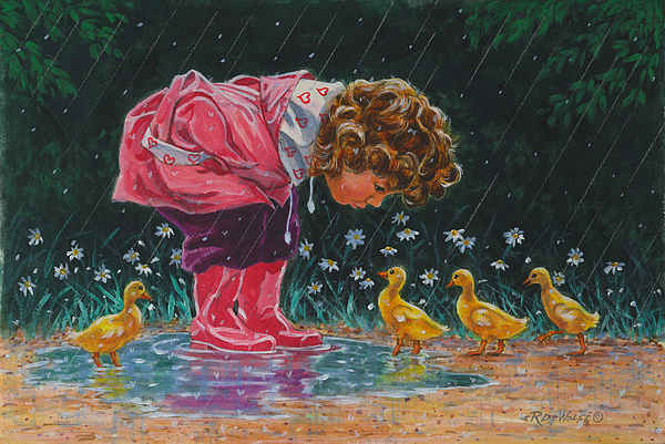 Children Painting - Just Ducky by Richard De Wolfe
