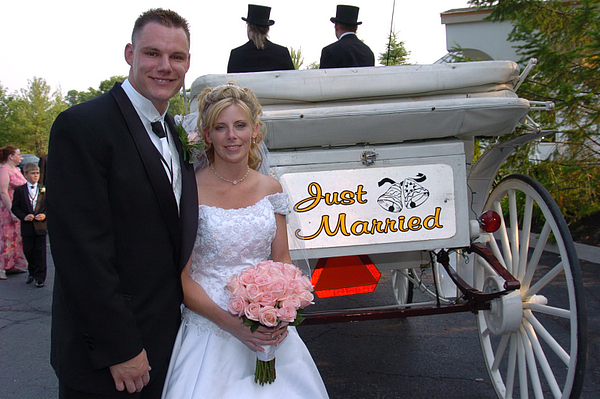 Just Married Photograph - Just Married Carriage by Mary Curtis