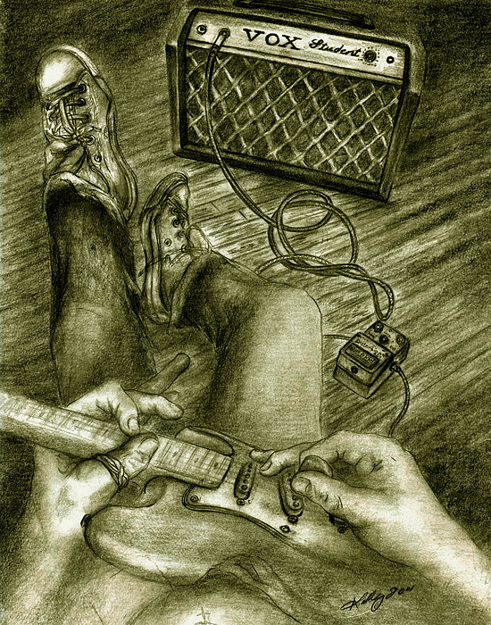 Guitar Player Portrait Drawing - Just Playin Around by Kathleen Kelly Thompson