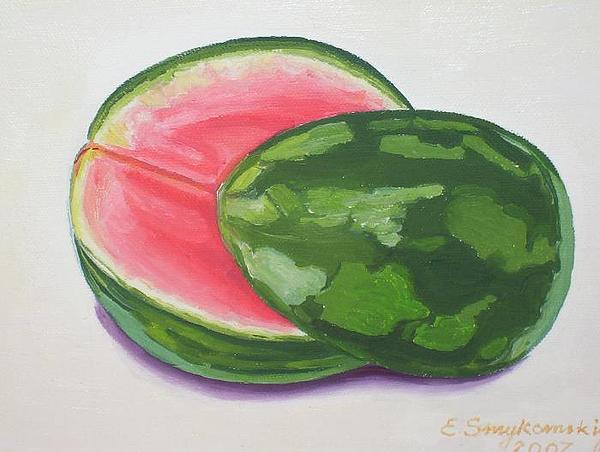Just Watermelon Painting by Ewald Smykomsky Beyond Gallery Cafe of Kathlin Austin