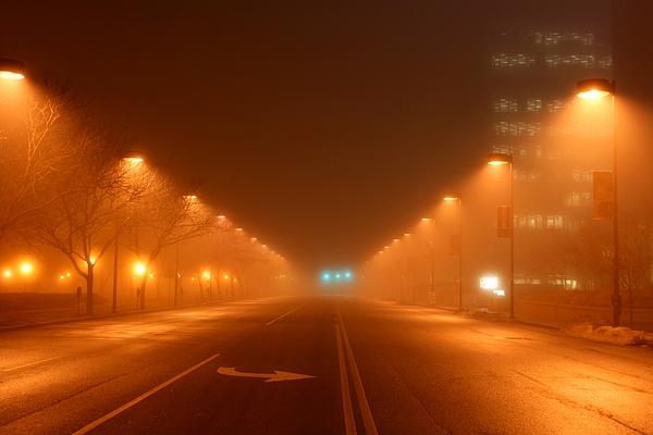Kansas Photograph - Kansas City Grand Avenue In Fog by David Dunham