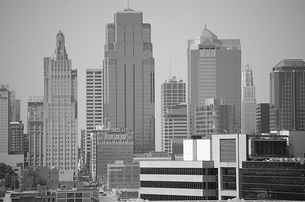 Kansas City Skyline In Black And White Photograph by Christopher Butler