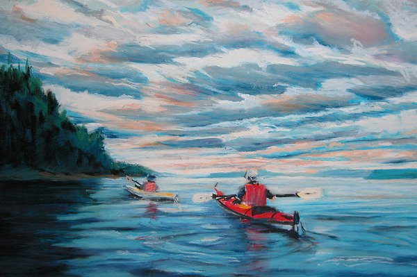 Water Painting - Kayakers by Synnove Pettersen