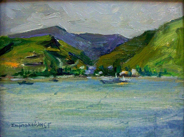 Kea.tzia.kea Island.tzia Island.greek Islands .kea Greek Island.a View Of Kea Island Painting - Kea by George Siaba
