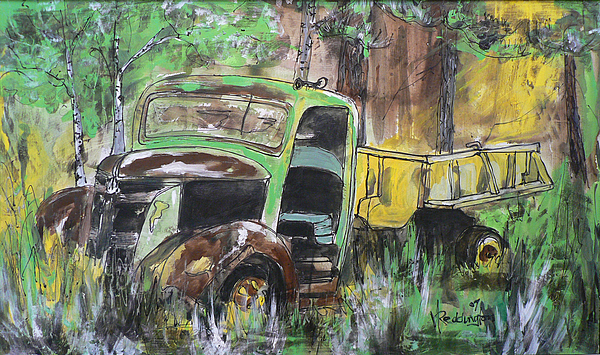 Old Truck Painting - Keeping His Dignity by Ginger Reddington