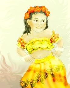 Hand Sketched Drawing - Keiki Hula by Ruth Kongaika