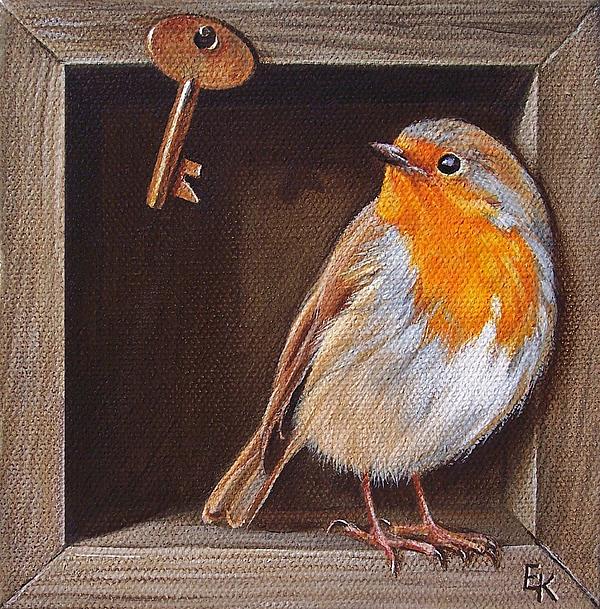 Bird Painting - Key Guardian by Elena Kolotusha