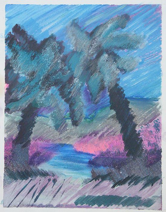 Abstract Mixed Media - Key Palms by Judy Loper