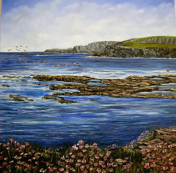 Kilkee Painting - Kilkee Cliffs Ireland Oil Painting by Avril Brand