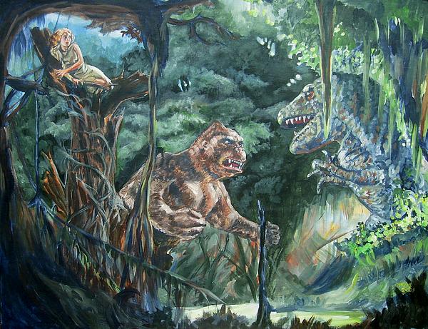 King Kong Vs T Rex Painting By Bryan Bustard