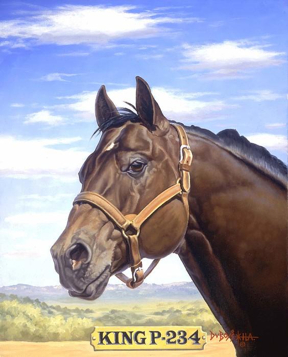 Quarter Horse Painting - King P234 by Howard Dubois