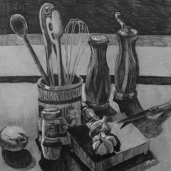 Stephen boyle drawing kitchen utensils still life original by stephen boyle