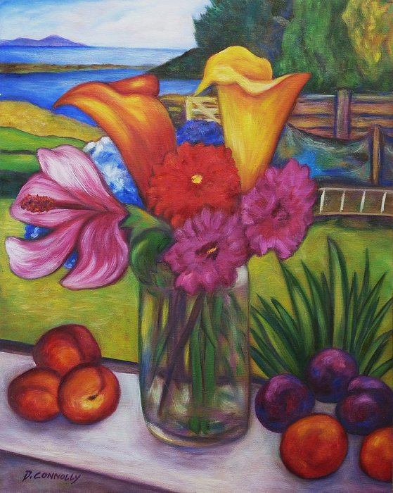 Diconnollyart Painting - Kitchen Window View by Dianne  Connolly