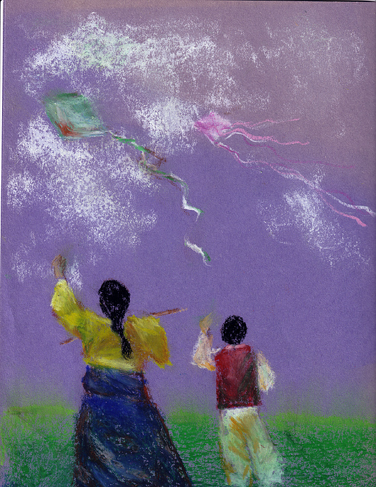 Kite Flying Drawing by Mui-Joo Wee