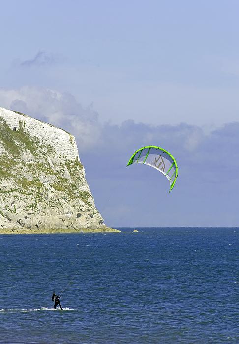 Europe Photograph - Kitesurfer At Yaverland by Rod Johnson