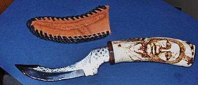 Mammoth Ivory Mixed Media - Knife With Mammoth Ivory And Scrimshaw by Dominic Angarano