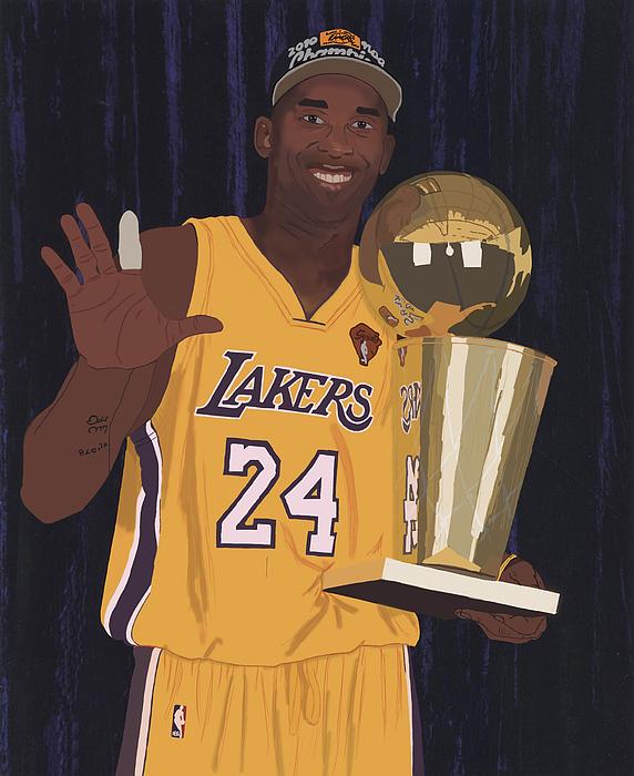 Kobe Bryant Digital Art - Kobe Bryant Five Championships by Tomas Raul Calvo Sanchez
