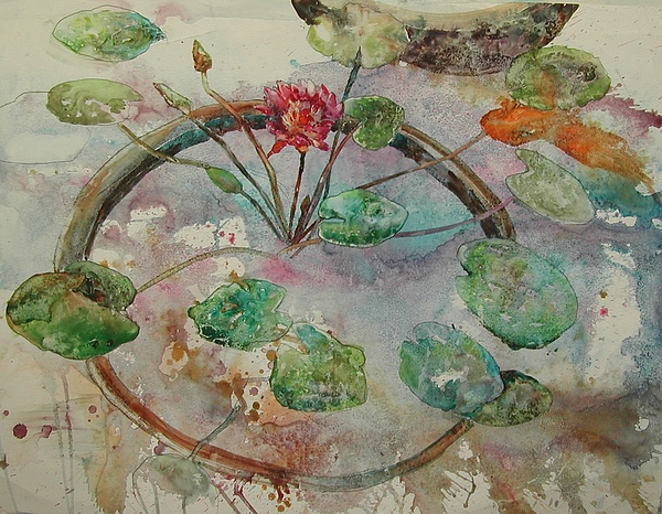 Waterlilies Painting - Koi Among The Lily Pads by Wendy Hill