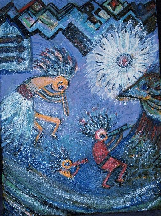 Sun Painting - Kokopelli Dancers And Big Bird by Anne-Elizabeth Whiteway