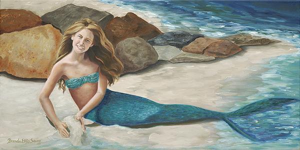 Mermaids Painting - Krissy by Brenda Ellis Sauro
