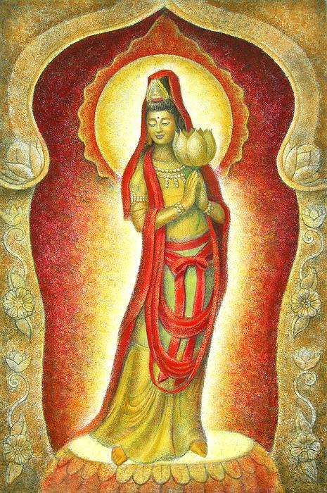 Kuan Yin Painting - Kuan Yin Lotus by Sue Halstenberg