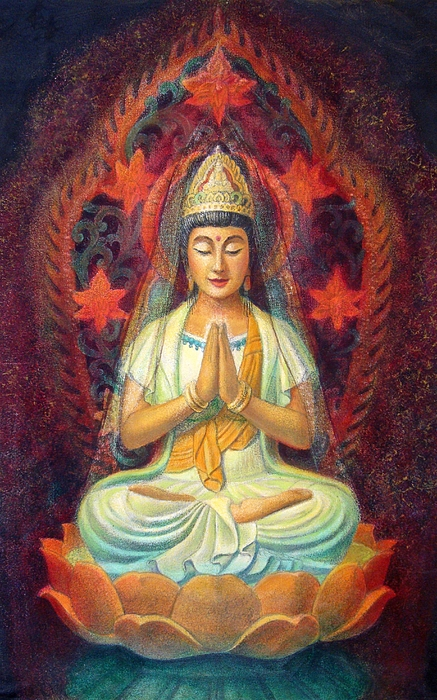 Kuan Yin Painting - Kuan Yins Prayer by Sue Halstenberg