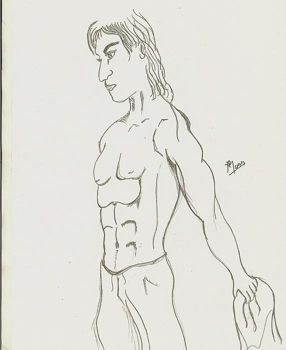 Man Drawing - Kung Fu Fighter by Mann Dharmendra Suthar
