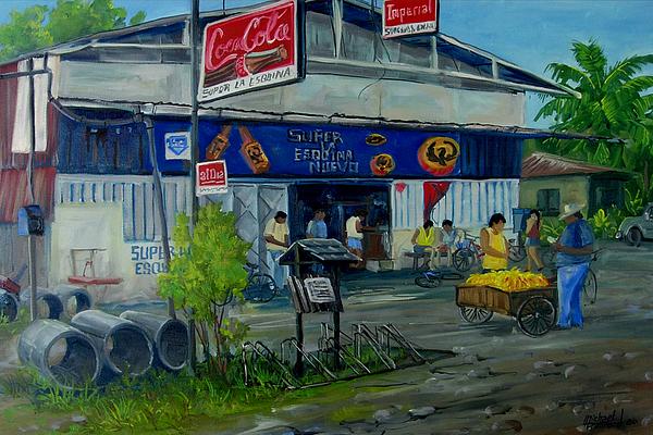 Street Scene Painting - La Esquina by Michael Cranford