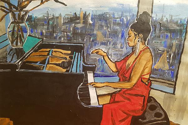 Piano Painting - La Fleur Chloe by Rachel Natalie Rawlins