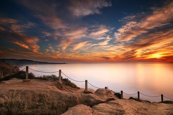 Sun Photograph - La Jolla Sunset by Larry Marshall