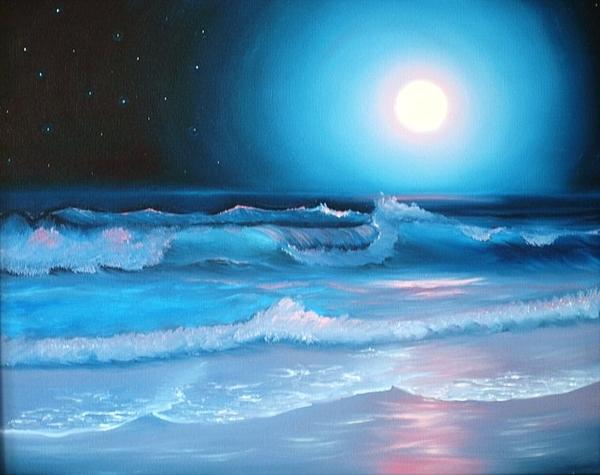 Beach Painting - La Luna  My Seascape Collection by E Luiza Picciano