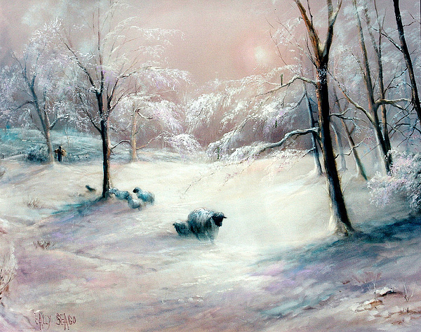 Lambs Painting - La Neige by Sally Seago