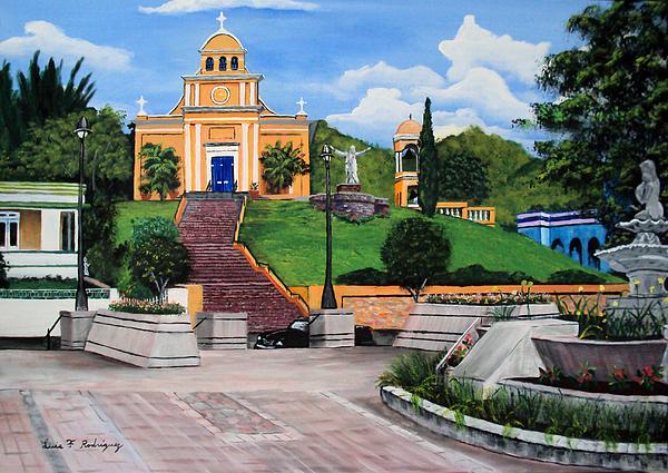 Puerto Rico Painting - La Plaza De Moca by Luis F Rodriguez