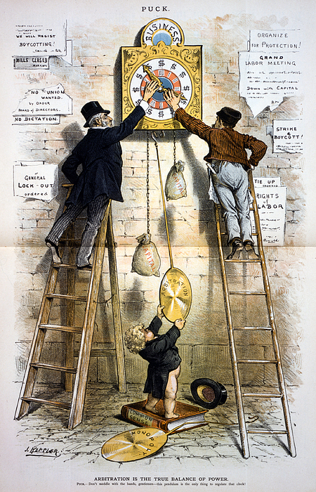 1880s Photograph - Labor Movement. Editorial Cartoon by Everett