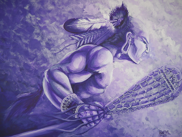 Akwesasne Painting - Lacrosse  by Curtis Mitchell